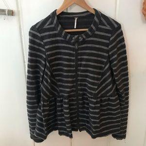 Free People • black and grey peplum jacket